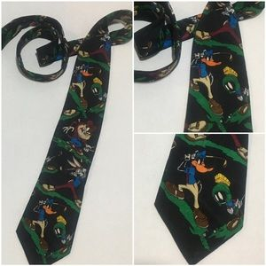 VTG 90s Looneys Tunes Mania Characters Golf Tie